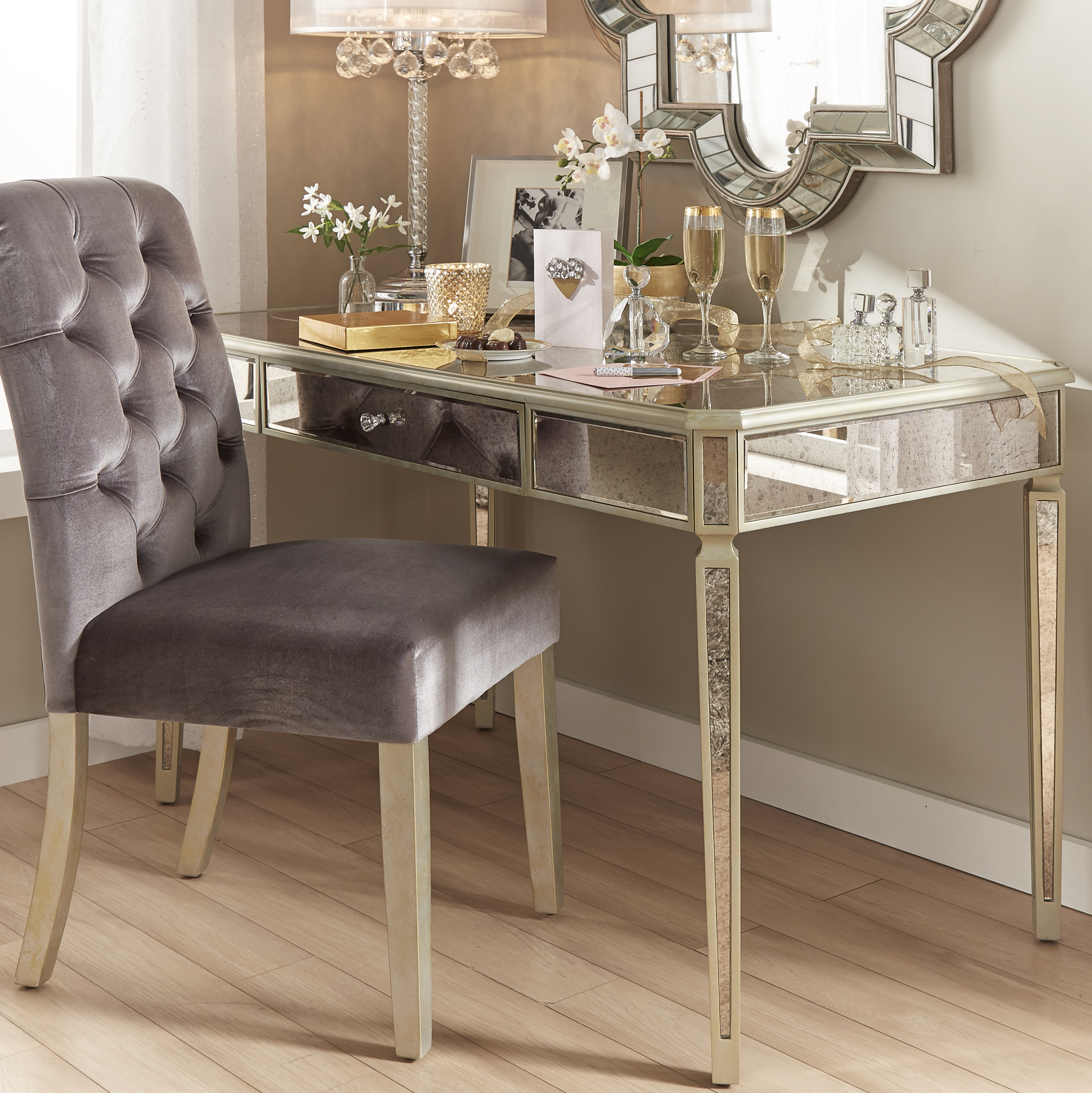 The Antique Mirrored Desk Features A Crystal Knob And Pale Gold . Full resolution‎  photo, nominally Width 4134 Height 4136 pixels, photo with #8E703D.