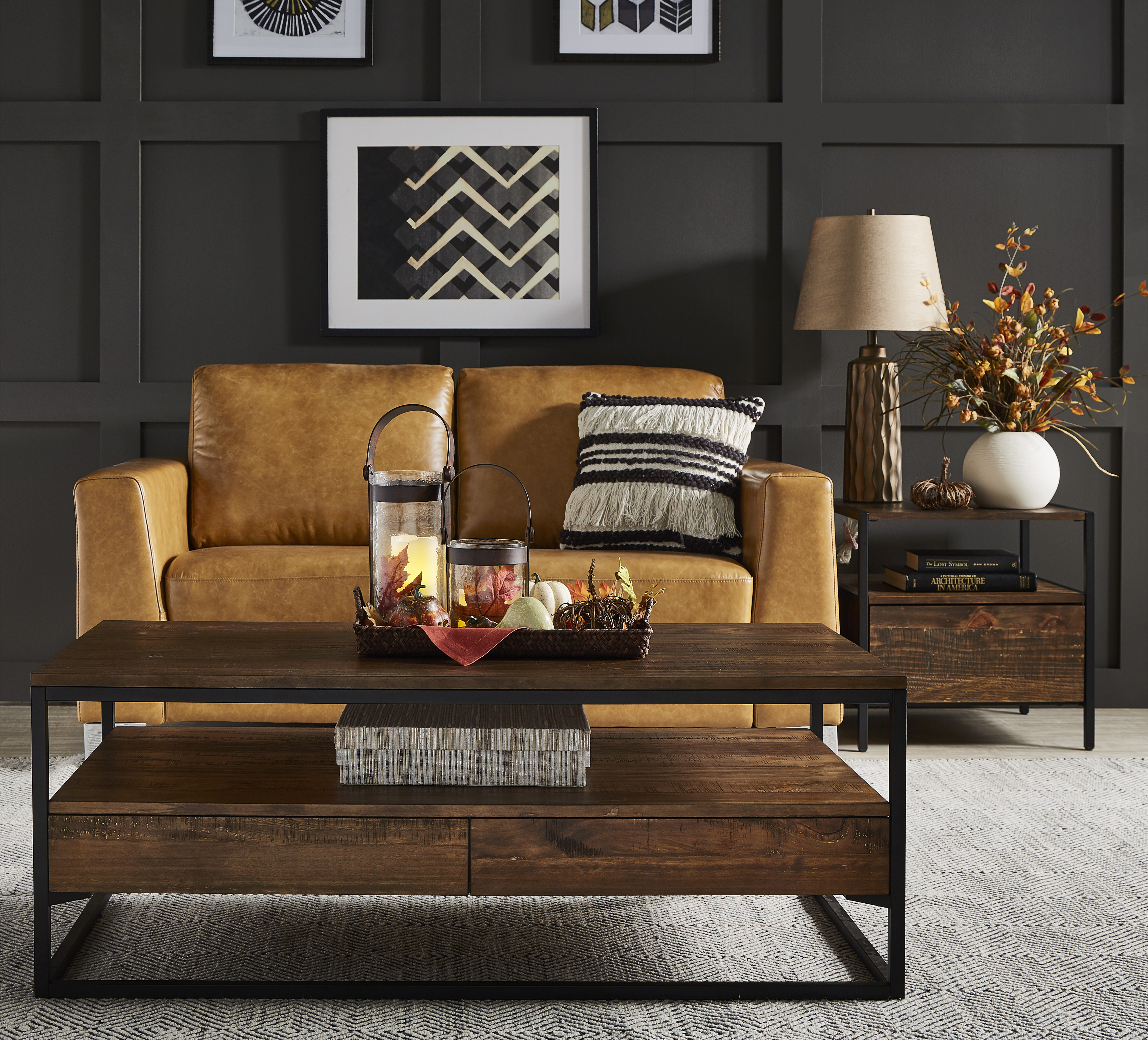 inspire q corey modern table set with fall decor