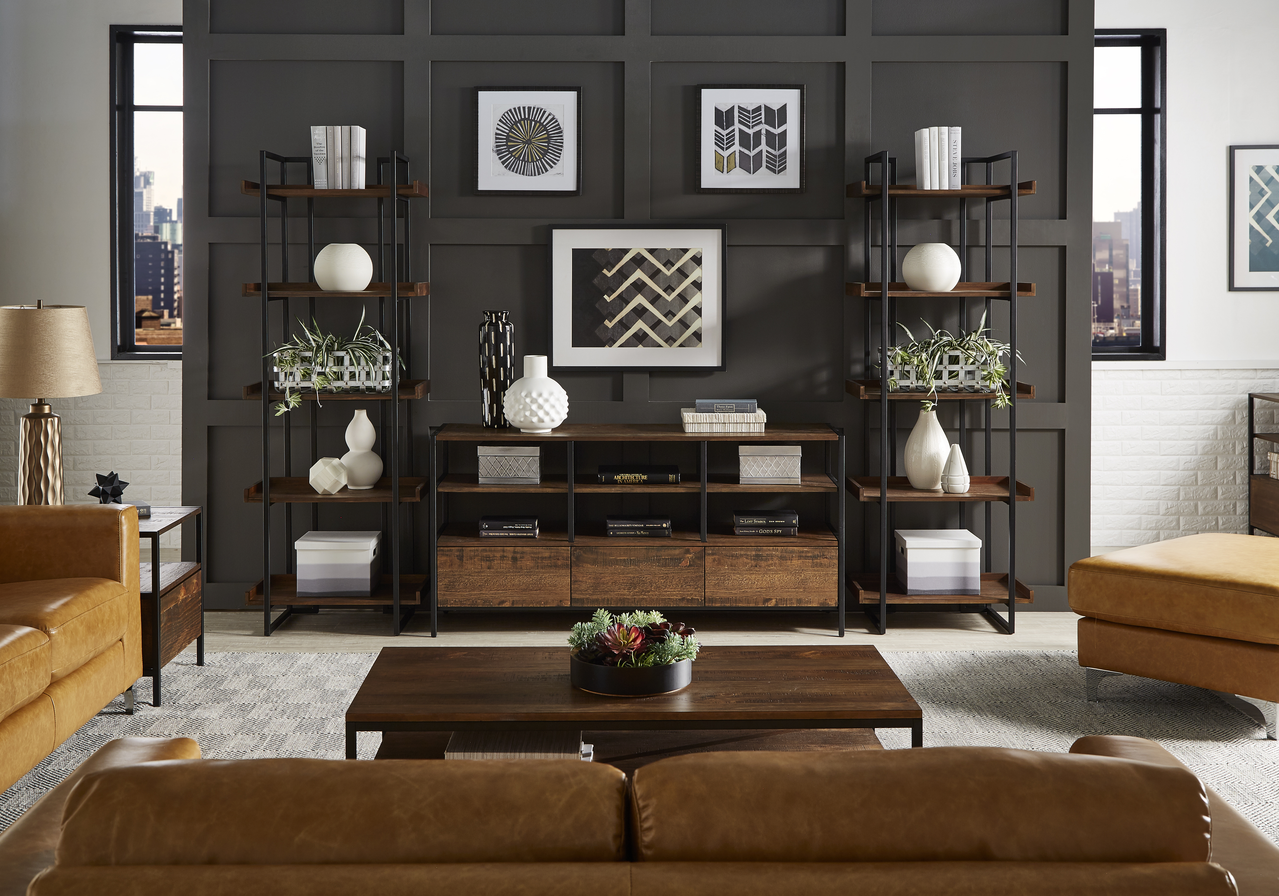 inspire q modern living room with industrial and wood accents