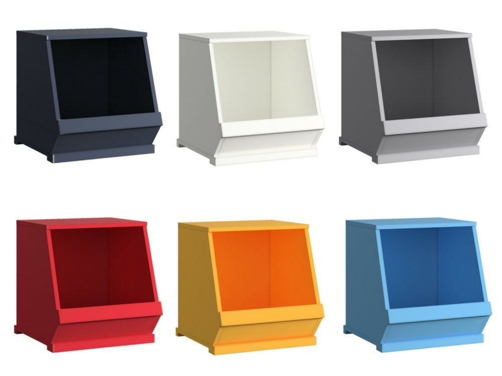This image illustrates all 6 color options for the Modular Stacking Storage Bins. There is 1 black bin, 1 white bin, 1 grey bin, 1 red bin, 1 yellow bin, and 1 blue bin.