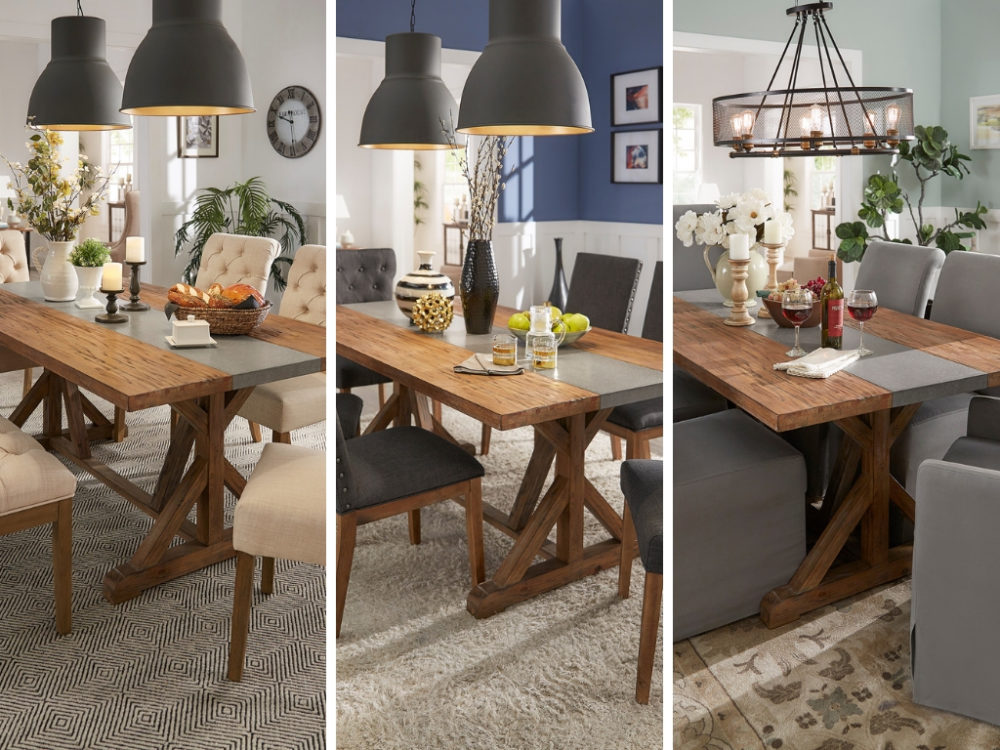 This photo is three images in one. There are three panels, one for each of our dining table ideas: farmhouse, modern, and classic. The table is the same in all three: a rectangular wooden table with a concrete inlaid and trestle base.