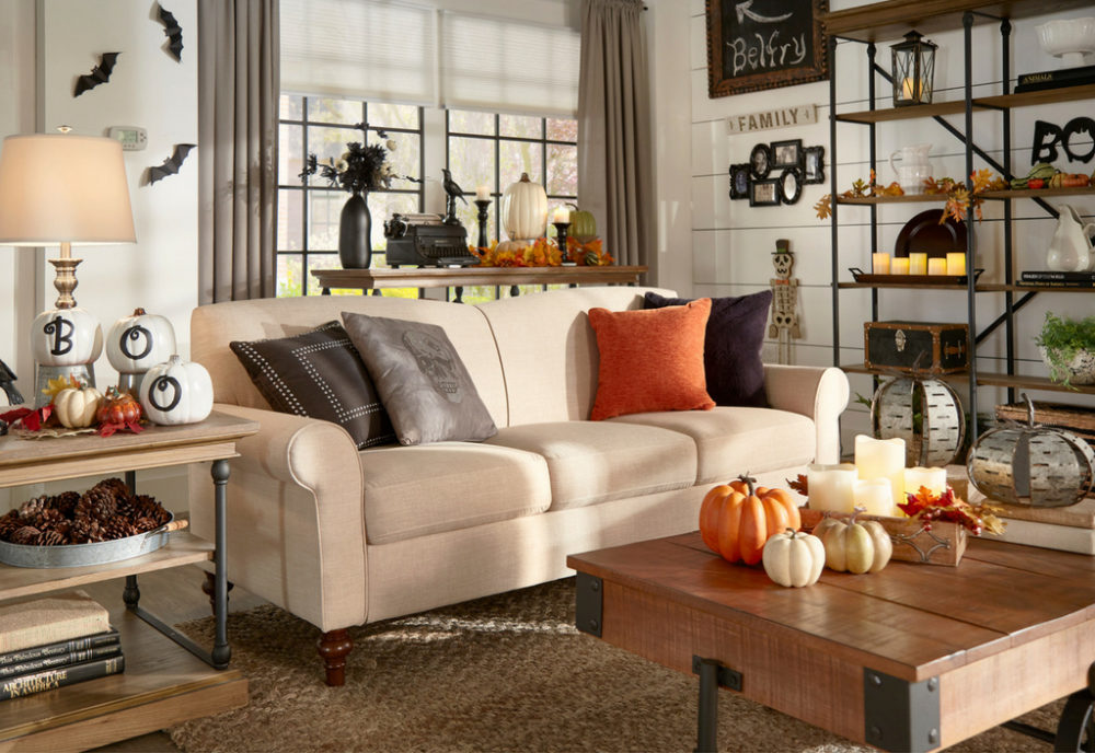 iNSPIRE Q Farmhouse Holiday Decor-- Halloween sofa with decorative pumpkins