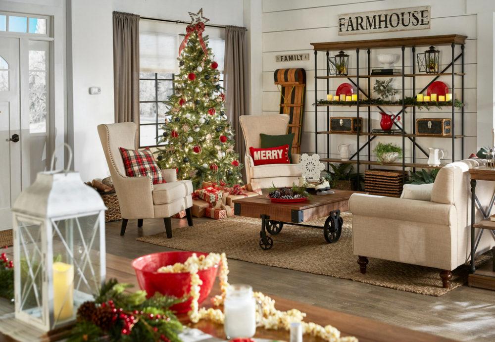 iNSPIRE Q Farmhouse Holiday Decor-- Christmas living room overview