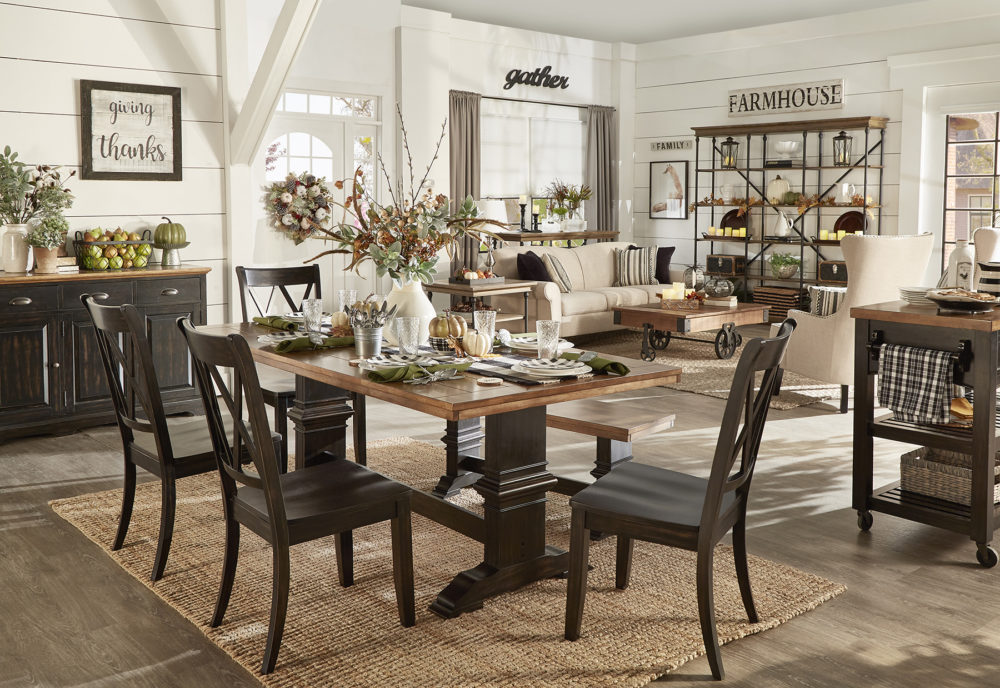 iNSPIRE Q Farmhouse Holiday Decor-- Thanksgiving room overview of living room and dining room