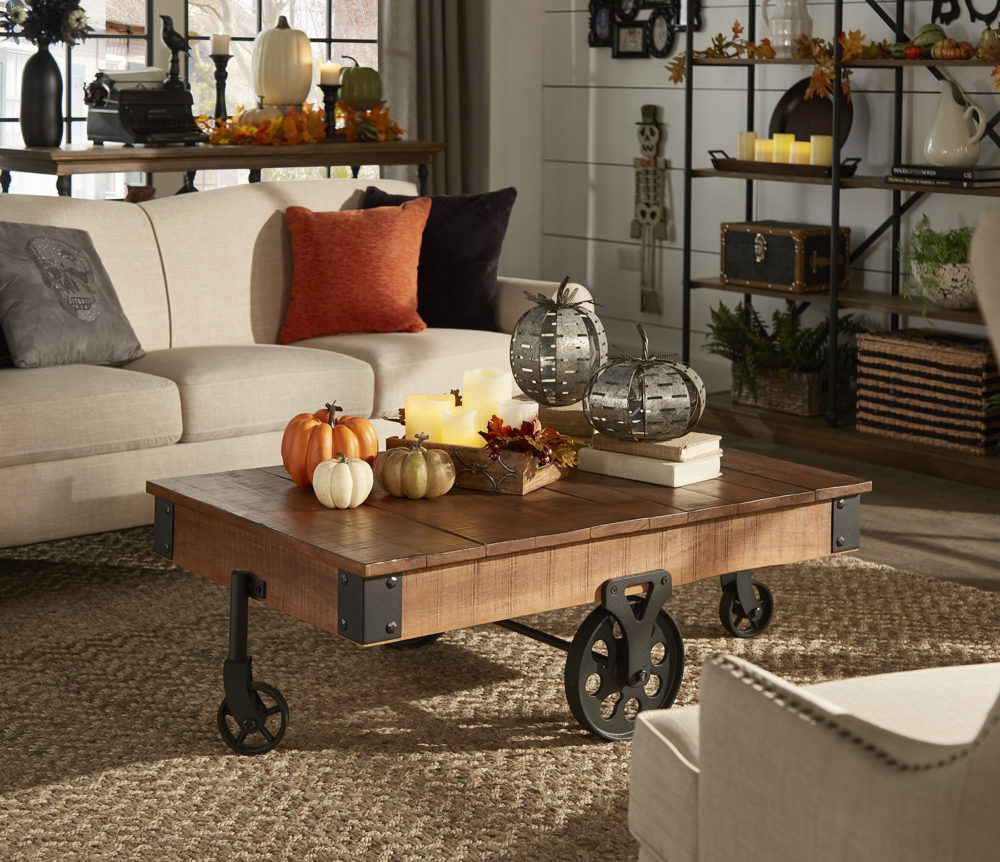 iNSPIRE Q Farmhouse Holiday Decor-- coffee table decorated with Halloween pumpkins and leaves