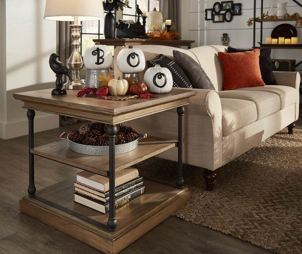 iNSPIRE Q Farmhouse Holiday Decor-- Halloween end table with decorative pumpkins and leaves