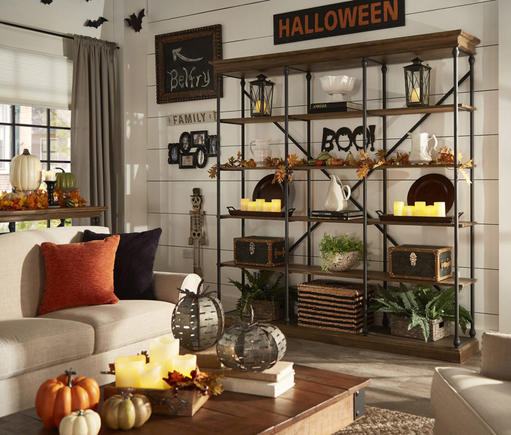 iNSPIRE Q Farmhouse Holiday Decor-- bookcase with decorative Halloween elements-- wall decor, bats, and faux leaves!