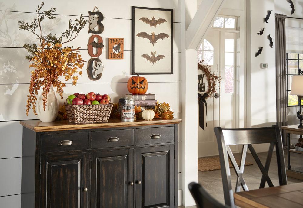 iNSPIRE Q Farmhouse Holiday Decor-- kitchen server with halloween decor (apples, skulls, and pumpkins!)