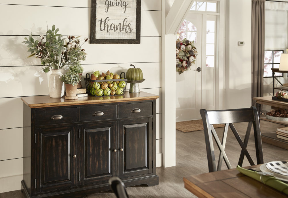 iNSPIRE Q Farmhouse Holiday Decor-- kitchen server with green accents
