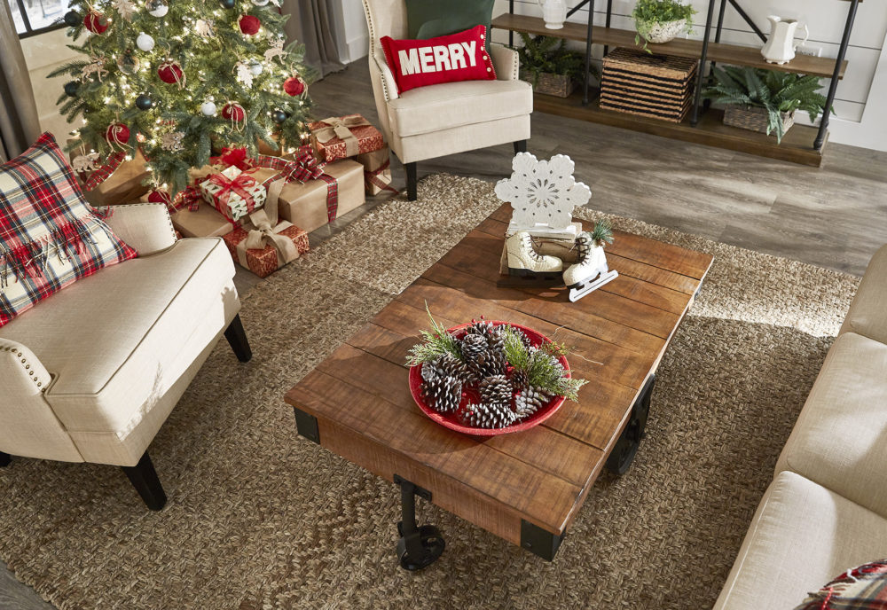 Another view of our living room, specifically the wood and metal coffee table with Christmas décor.