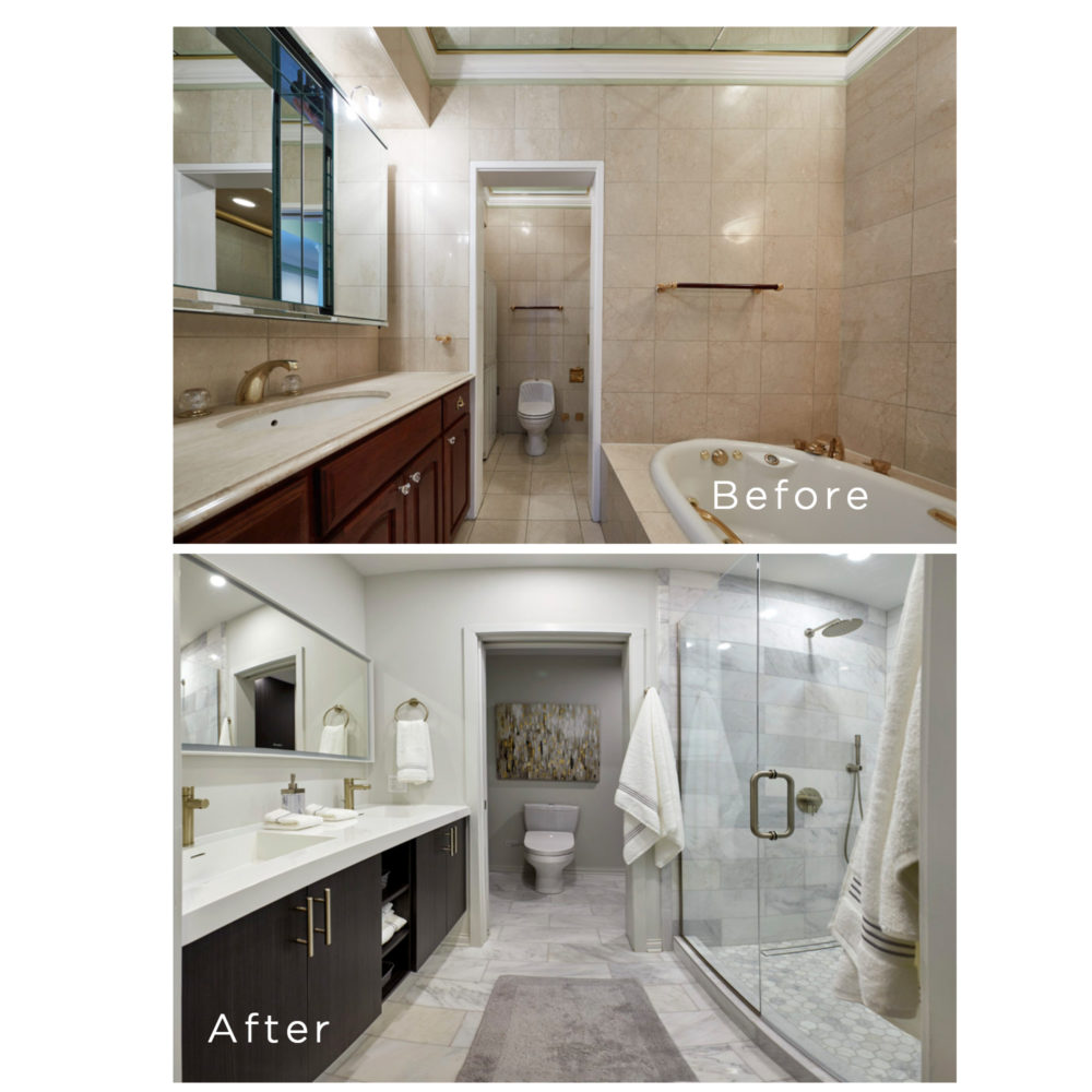 master bath before and after
