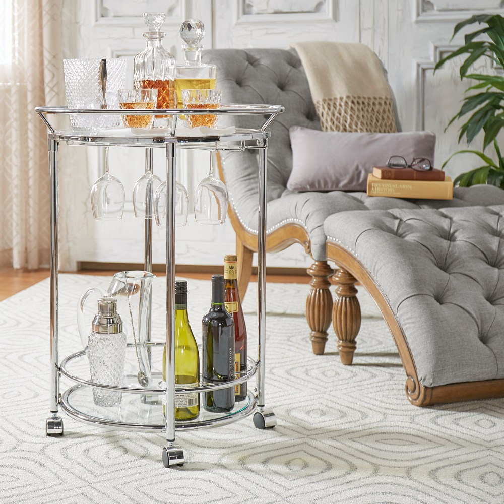 2-Tier chrome round mobile bar cart with wine glass rack and storage thanksgiving hosting