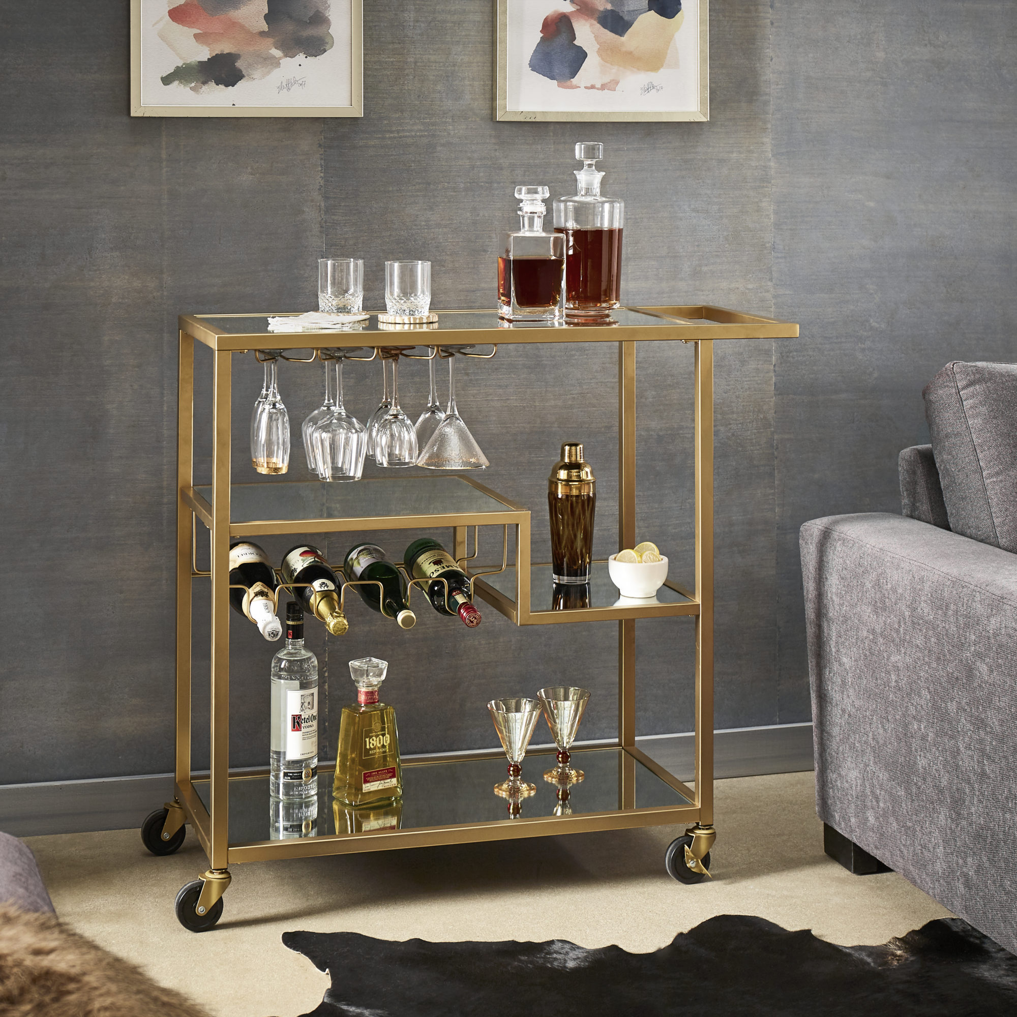 gold mirrored bar cart with shelving and wine rack thanksgiving hosting