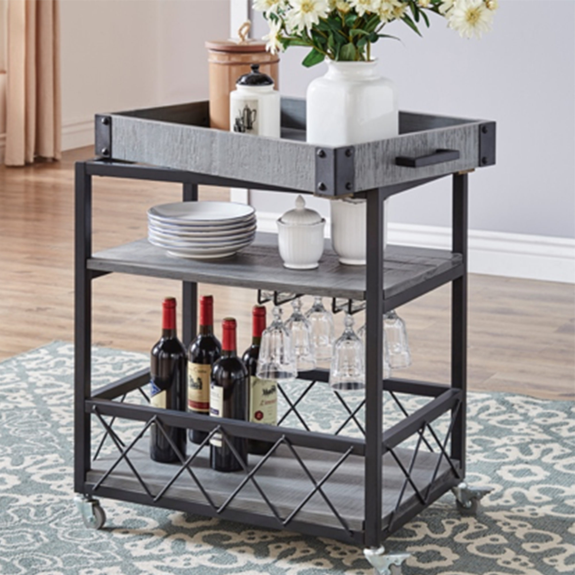 Grey farmhouse mobile cart (with removable serving tray!) thanksgiving hosting