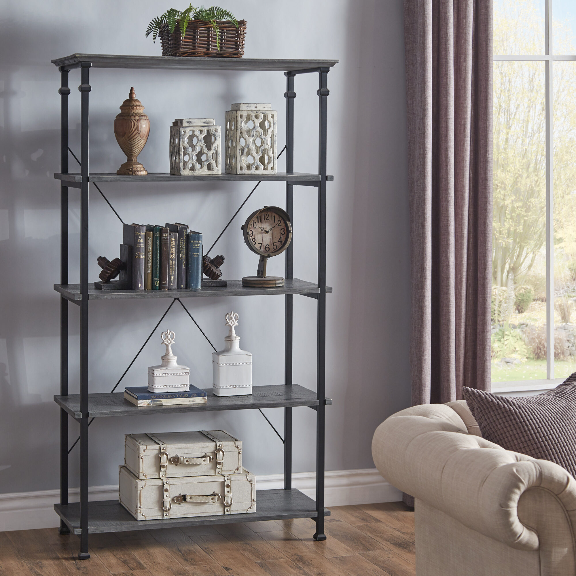 The third and final back-to-school tip for parents is about creating a space to display your child's accomplishments. This is our Myra Vintage Industrial Modern Rustic 40-inch Bookcase by iNSPIRE Q Classic. Four wide shelves are available and come in a grey or bistre brown finish.