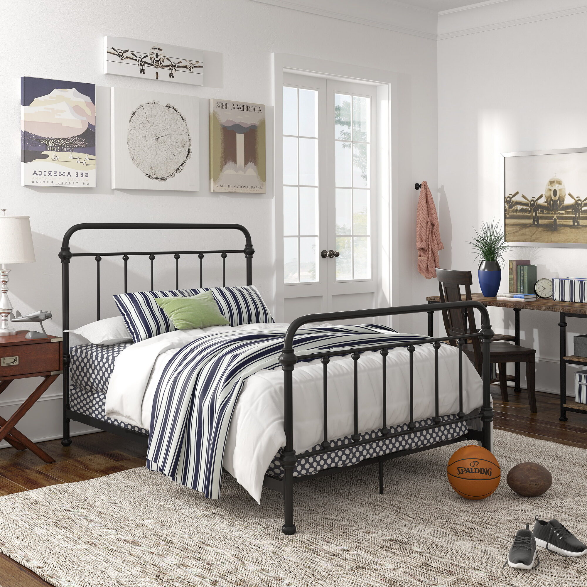 This is our Giselle Antique Graceful Dark Bronze Victorian Iron Bed by iNSPIRE Q Classic. The all-metal construction has a dark bronze finish and the head and footboards feature timeless, sleek lines that any teen will love.