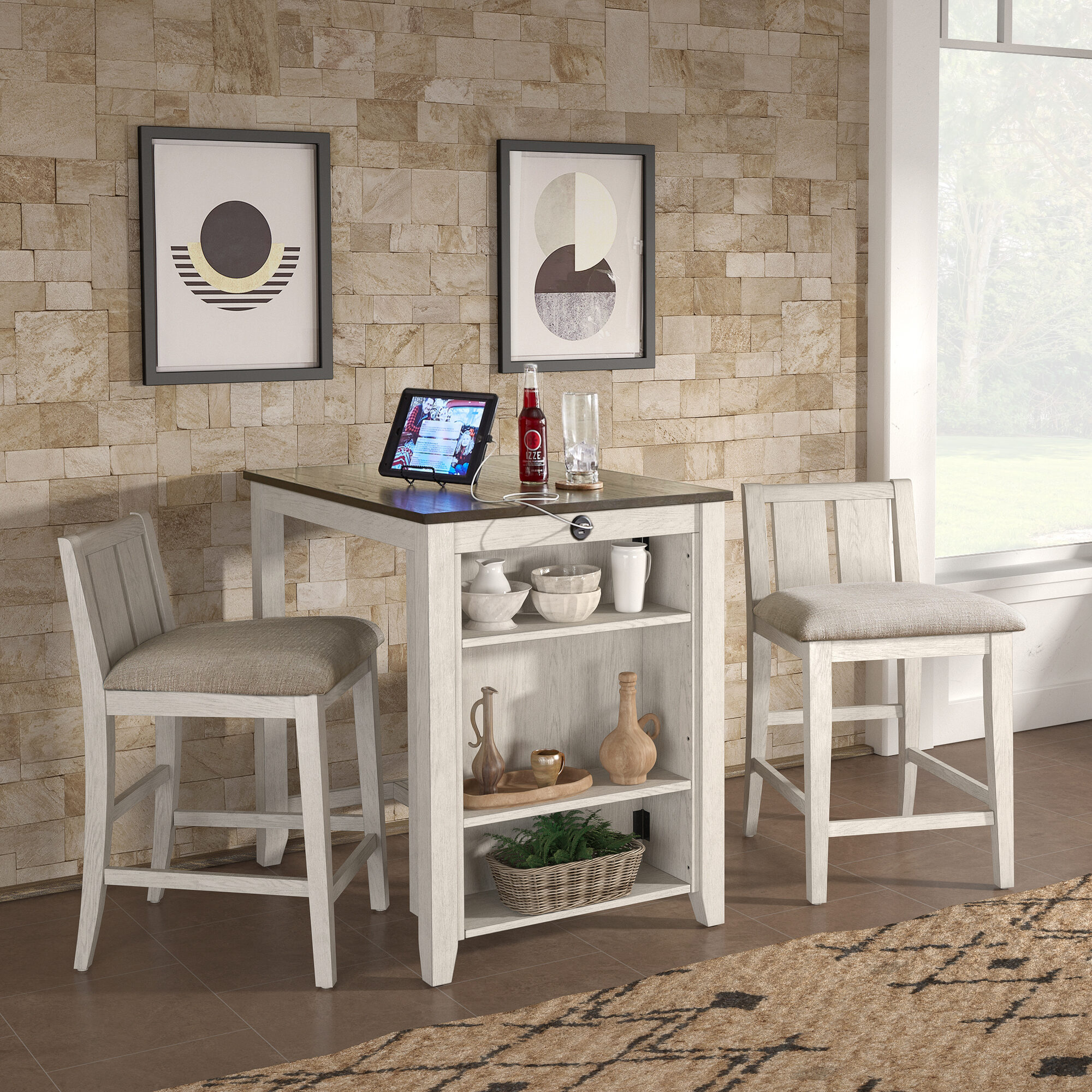 Not everyone has room for a kitchen island in their home, so dining sets like our Beck Counter Height 3-Piece Dining Set with USB Charging Station by iNSPIRE Q Classic is perfect for those tight spaces. This one pictured has a two-tone finish, with a dark cherry table top and distressed white finish on the table's base and the chair frames.