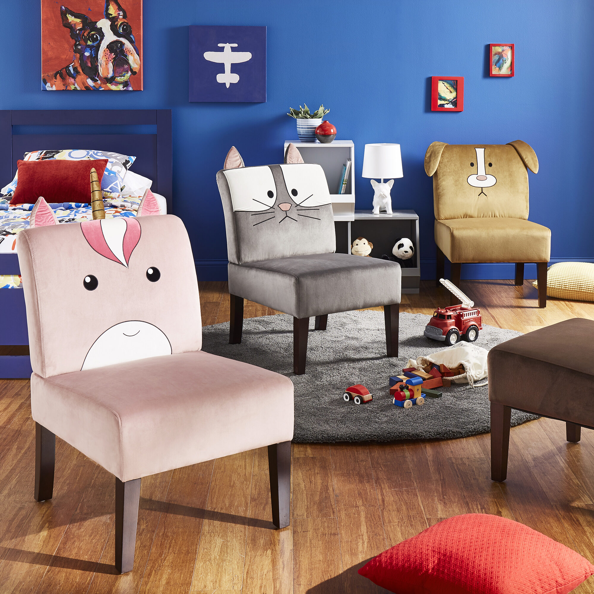 Another piece of furniture in our kids' bedroom ideas is a plush chair to put at their desk. These chairs are not only super soft and cozy, but also display your child's favorite animal on the backrest.
