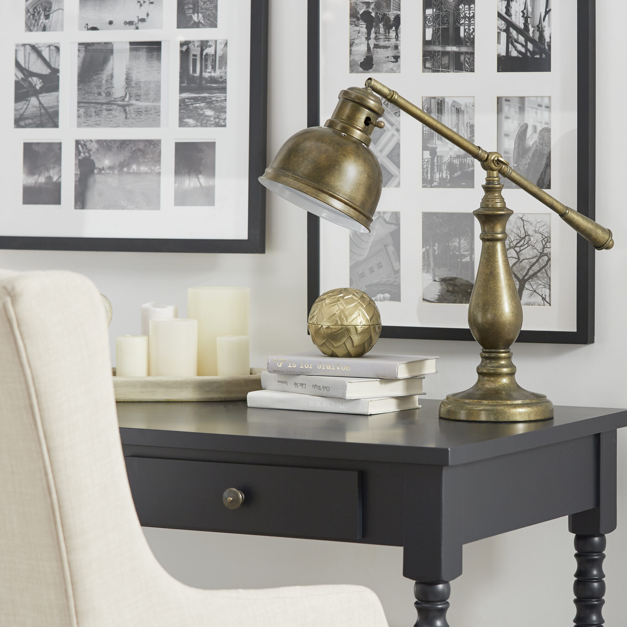 A bonus item on our list for small space furniture! Every desk needs a table top companion and our Maximus Metal Antiqued Brass 1-light Accent Desk Lamp by iNSPIRE Q Artisan makes the perfect one.