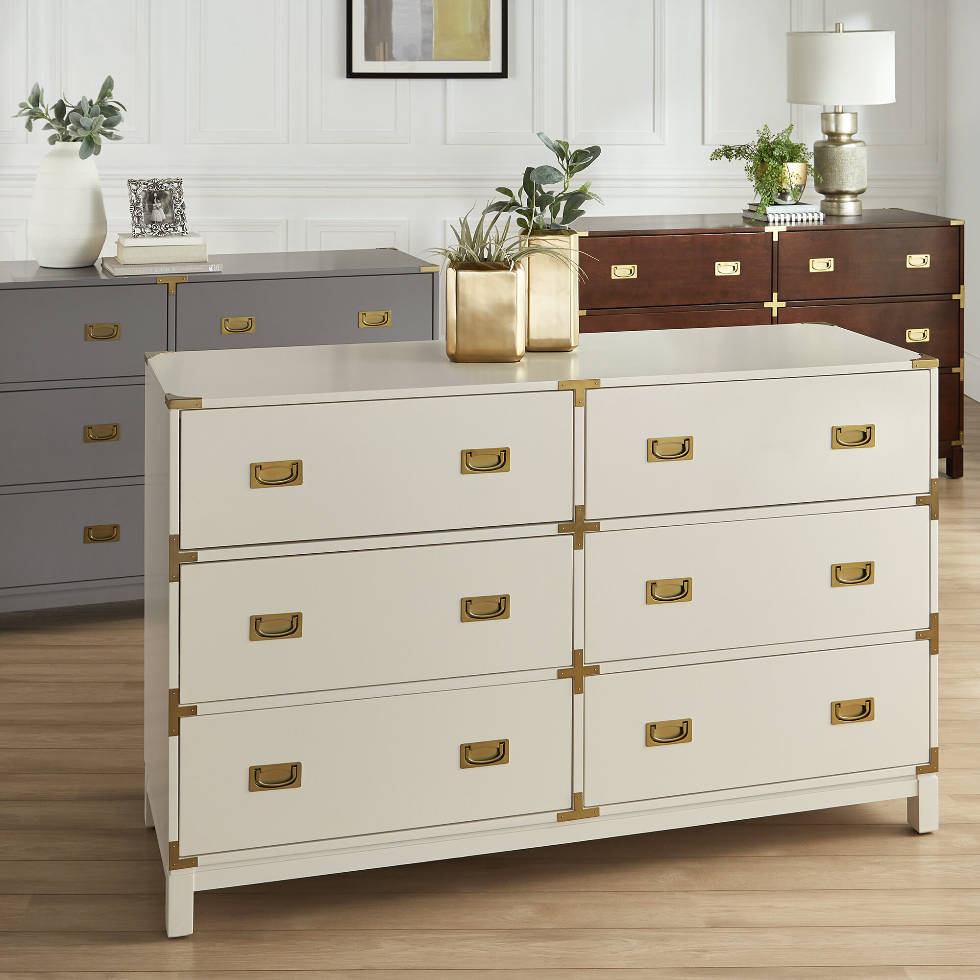 The third of our teen bedroom furniture: the dresser. This is the Kedric 6-Drawer Gold Accent Dresser by iNSPIRE Q Bold. It comes in three colors (grey, espresso, and white). It is two-drawers wide and has a total of six drawers. Also features gold metal accents and drawer pulls.
