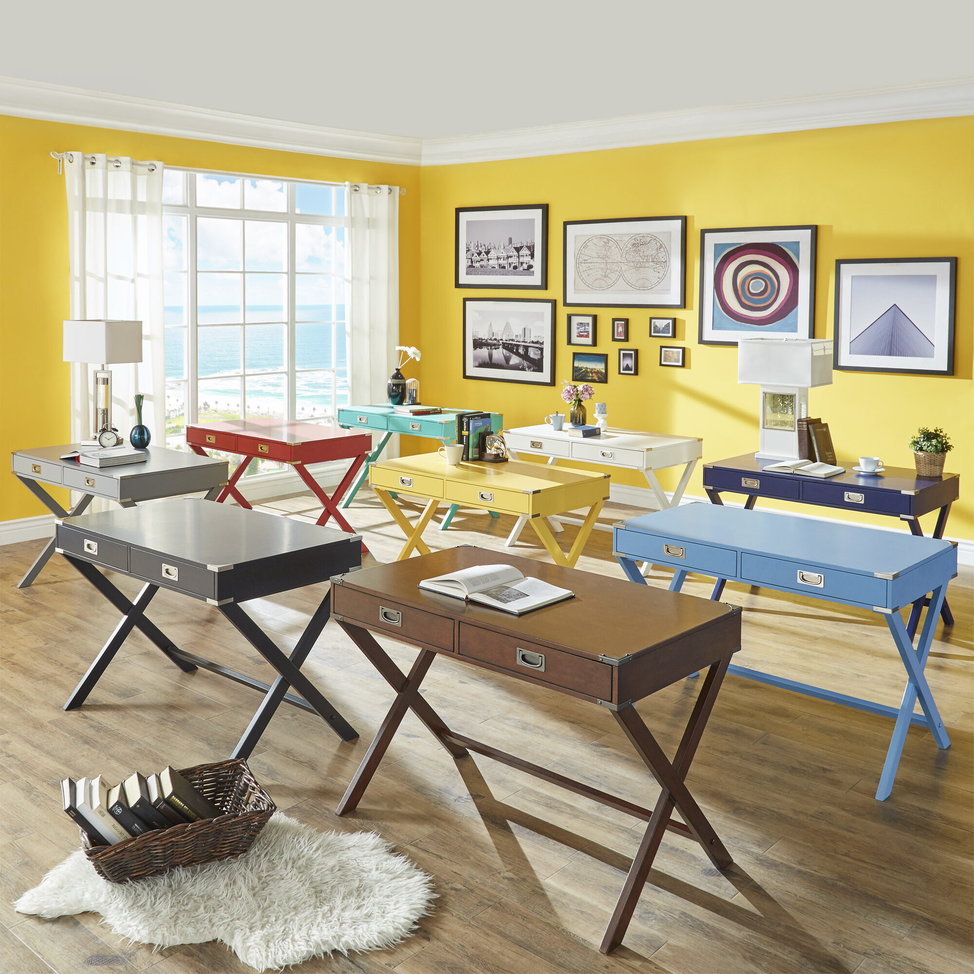The first of the kids' bedroom ideas is to pick out a desk. Here is a two-drawer, X-shaped base desk that comes in a variety of different colors, from neutrals to brights.