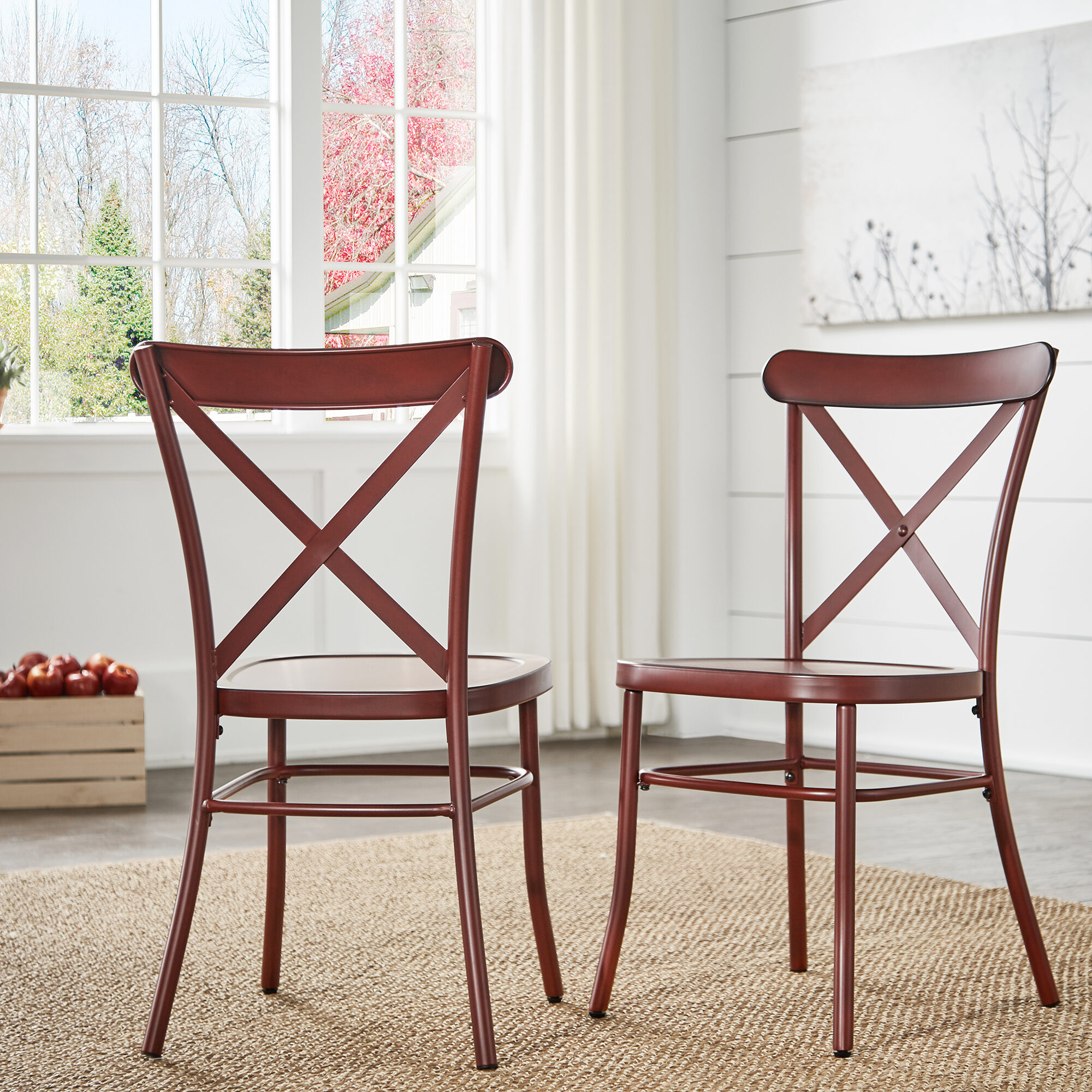 When it comes to chairs, there are a thousand different kinds to choose from! Here is our Antique Berry Red Metal Dining Chairs (Set of 2).