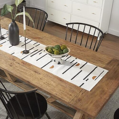 iNSPIRE Q Black and white decor for dining table with blog link to design tips