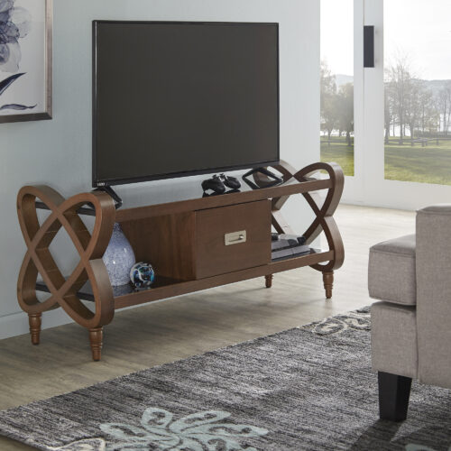 This is our Walnut Finish TV Stand With Black Tempered Glass Top & Bottom. It features a flat screen on top of it.